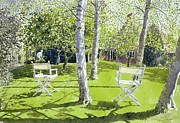 Garden Chairs Posters - Silver Birches Poster by Lucy Willis