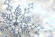 Snowy Night Photo Posters - Silver blue snowflake  Poster by Sandra Cunningham