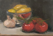 Tomatos Painting Metal Prints - Silver Bowl with Lemons and Tomatoes Metal Print by Joyce Colburn
