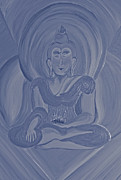 Monotone Painting Acrylic Prints - Silver Buddha Acrylic Print by First Star Art