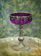 Bejeweled Posters - Silver Chalice with Jewels Poster by Jill Battaglia