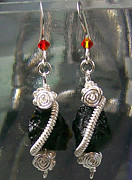 French Jewelry Originals - Silver Coil Tektite Earrings by Heather Jordan
