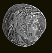 Coin Prints - Silver Coin Alexander In Elephant Helmet Print by Paul D Stewart