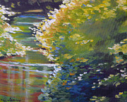 Falls Paintings - Silver Creek Foliage by Melody Cleary