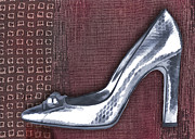 Stilettos Paintings - Silver Crocodile Pump by Elaine Plesser