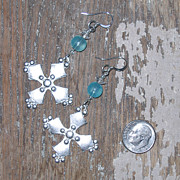Gothic Jewelry - Silver Cross Dangle Earrings by Elizabeth Carrozza