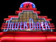 Night Diner Prints Posters - Silver Diner Poster by Julie Niemela