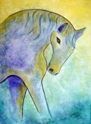 Abstract Horse Paintings - Silver by Donna Blackhall