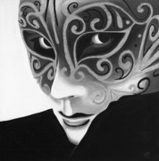 Silver Flair Mask - Bw Print by Patty Vicknair