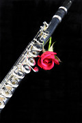 Musical Photos - Silver Flute Red Rose by M K  Miller