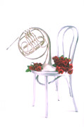 Horn Prints - Silver French horn on silver chair Print by Garry Gay