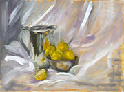 Sterling Silver Art - Silver Jug with lemons by Yelitza Karolyi