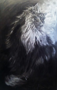 Large Scale Painting Posters - Silver Light. Big Cat Series Poster by Christine Montague