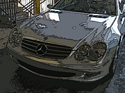 Samuel Sheats Posters - Silver Mercedes Benz SL 500 Nose Study Poster by Samuel Sheats