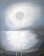 Silver Moonlight Paintings - Silver moon by Anne Thomassen