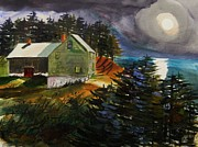 Sea Moon Full Moon Prints - Silver Moon Farm Print by John  Williams
