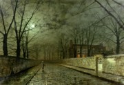 Road Painting Framed Prints - Silver Moonlight Framed Print by John Atkinson Grimshaw