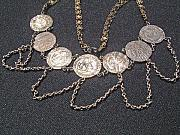 Antique Jewelry - Silver necklace made from 7 rare Venetian silver ducats by Silversmith