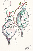 Christmas Notecard Originals - Silver Ornaments Of Joy by Michele Hollister - for Nancy Asbell