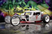 Hotrod Digital Art Posters - Silver Rat Rod ..... Poster by Rat Rod Studios