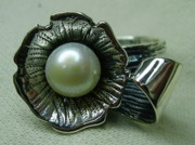Flower Ring Jewelry - Silver Ring-pearl by Jonatan Kor