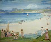 Fishing Village Framed Prints - Silver Sands Framed Print by Charles Edward Conder