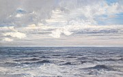 Blue Sea Paintings - Silver Sea by Henry Moore