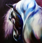 Equine Art Paintings - Silver Shadows Equine by Marcia Baldwin