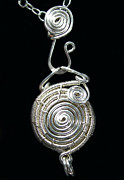 Futuristic Jewelry - Silver Spiral Wire-Work Locket by Heather Jordan