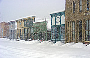 Store Fronts Posters - Silver Street Snow Storm Poster by Kara Kincade