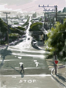San Francisco Mixed Media Metal Prints - Silver Streets Metal Print by Russell Pierce