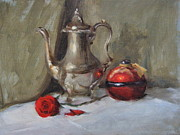 Silver Tea Pot Paintings - Silver Tea Pot by Roger Clark