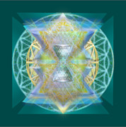 Chalicebridge.com Posters - Silver Torquoise Chalice Matrix Subtly Lavender Lit on Gold n Blue n Green with Teal Poster by Christopher Pringer