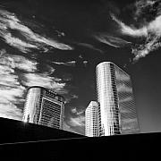 Curved Framed Prints - Silver Towers Framed Print by David Bowman