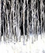 Moonlit Night Prints - Silver Trees Print by Michaela Akers