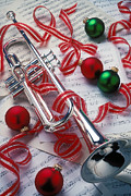 Wind Instrument Photos - Silver trumper and Christmas ornaments by Garry Gay