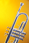 Music Photo Metal Prints - Silver Trumpet Isolated On Yellow Metal Print by M K  Miller