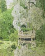 Tranquil Pond Framed Prints - Silver White Willow Framed Print by Aleksandr Jakovlevic Golovin