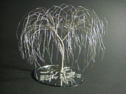 Wire Tree Sculpture Prints - Silver Willow Wire Tree Art Print by Ken Phillips