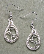 Woven Jewelry Originals - Silver Woven Teardrop Earrings by Heather Jordan