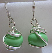 Spirals Jewelry - Silver Wrapped Greens Earrings by Janet  Telander