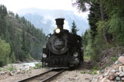 Railroads Originals - Silverton Train  in San Juan Mountains by Cynthia Cox Cottam