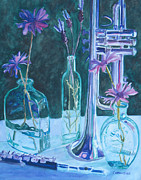 Glass Reflections Originals - Silvery Night Music by Jenny Armitage