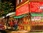 Montreal Summer Scenes Prints - Simchas  Fruit Store Print by Carole Spandau