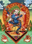 Thangka Paintings - Simhamukha - Lion Face Dakini by Sergey Noskov