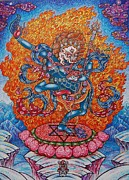 Tibetan Buddhism Drawings Metal Prints - Simkhamukha the Dakini Metal Print by Lana Arcadeva