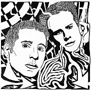 Yonatan Drawings - Simon and Garfunkel Maze by Yonatan Frimer Maze Artist