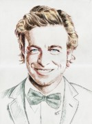 Baker Drawings Prints - Simon Baker portrait Print by MiTi