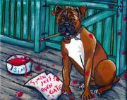 Boxer Dog Paintings - Simon Says by Laura Brightwood