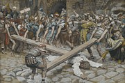 Savior Painting Framed Prints - Simon the Cyrenian Compelled to Carry the Cross with Jesus Framed Print by Tissot